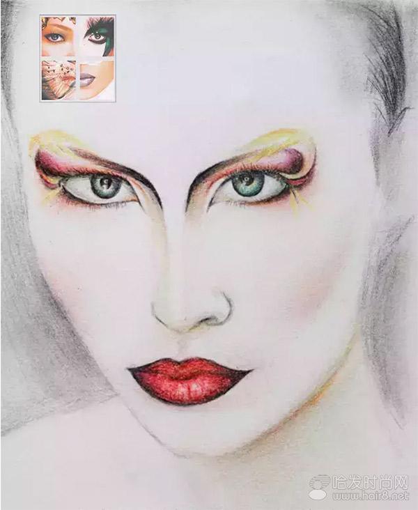 成都毛戈平学校形象设计与艺术创意班美人图素描作业