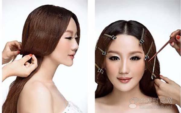 简单韩式新娘盘发步骤图解步骤3,4
