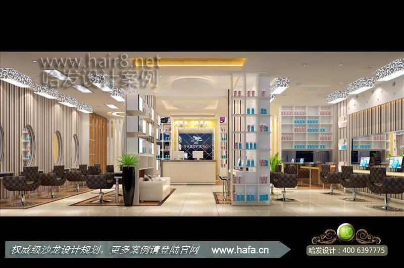 上海市黑白灰时尚 暖光温馨美发店装修案例