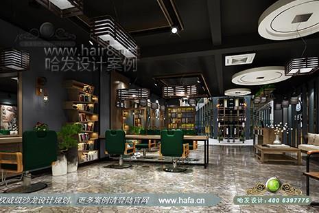 河北省秦皇岛市三合汇美容美发沙龙采用复古风格美发店装修设计案例图片