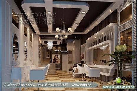 江苏省宿迁市本案主要以简欧韩式风格为主,体现清新,时尚感美发店装修图片