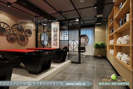 日本純色原木裝飾的美發沙龍設計