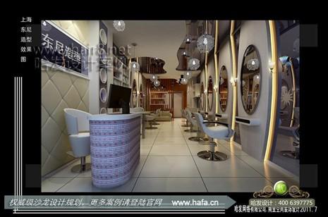 上海市东尼造型  时尚简洁镜面发廊设计案例 面积:80平米 如果您喜欢
