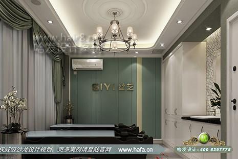 吉林省长春市丝艺专业美容美发养生会馆采用欧式简约风格理发店装修