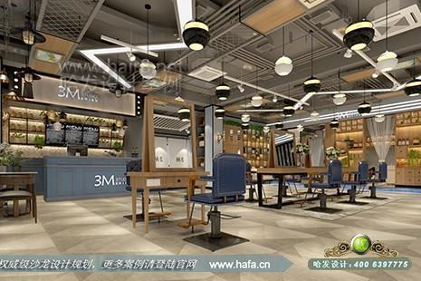 江苏省南京市溧水3m发型工作室采用复古工业风格美发店装修设计案例