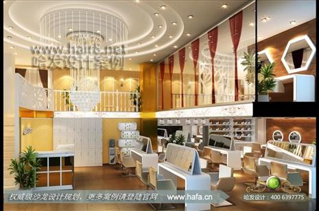 广东省江门市异形时尚镜台发廊装修设计案例图1