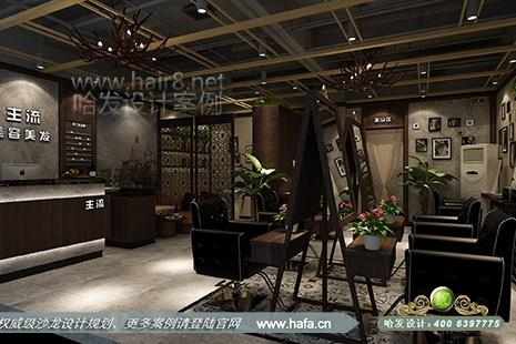 河南省信阳市主流美容美发沙龙采用复古风格美发店装修设计案例图3图片