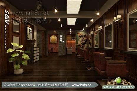 木纹与红砖墙的配合,营造怀旧复古的风格理发店装修