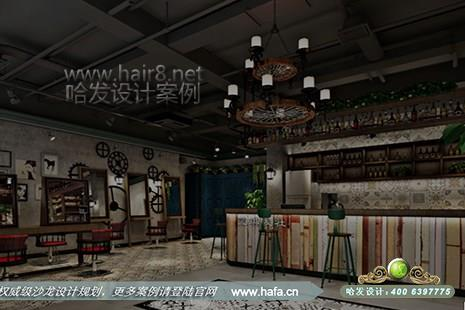 蓝琪发社采用复古工业风格 美发 店 装修 设计案例图1