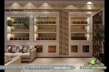 云南省弥勒茗妍美容养生会所将欧式的镂空雕花元素应用到了隔断上.